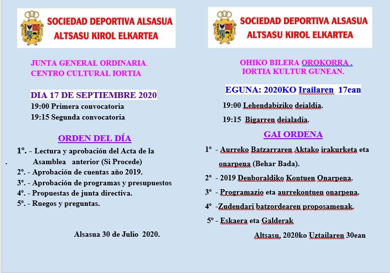 JUNTA GENERAL ORDINARIA.              CENTRO CULTURAL IORTIA